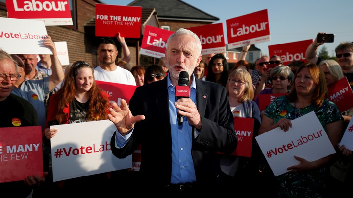 Corbyn makes a speech at a campaign event in Rotherham, Britain on May 10, 2017.