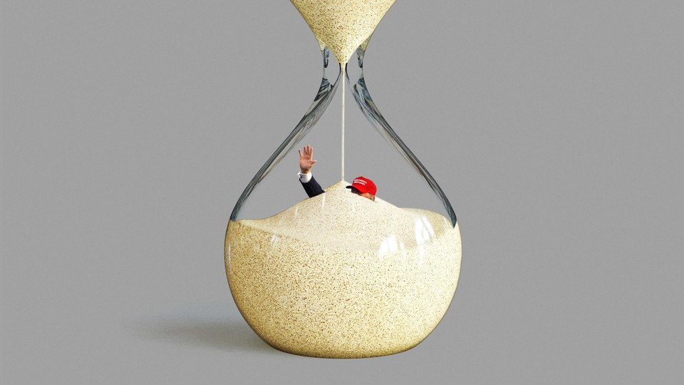 An illustration of Trump inside an hourglass