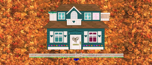 An archived Geocities family homepage showing a green cottage against a background of fall leaves.