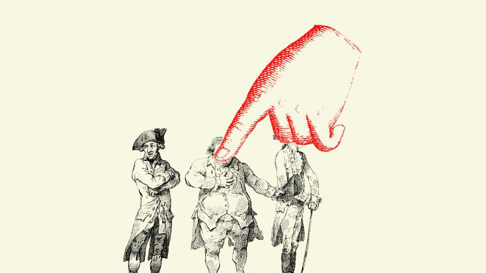 An illustration of three men with a finger pointing at them