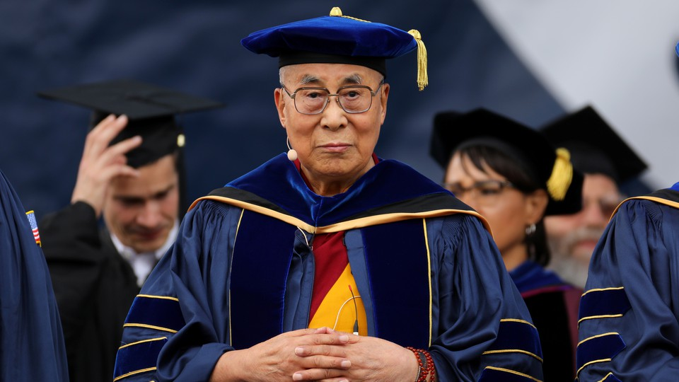 The Dalai Lama giving the commencement speech at the University of California at San Diego in June 2017