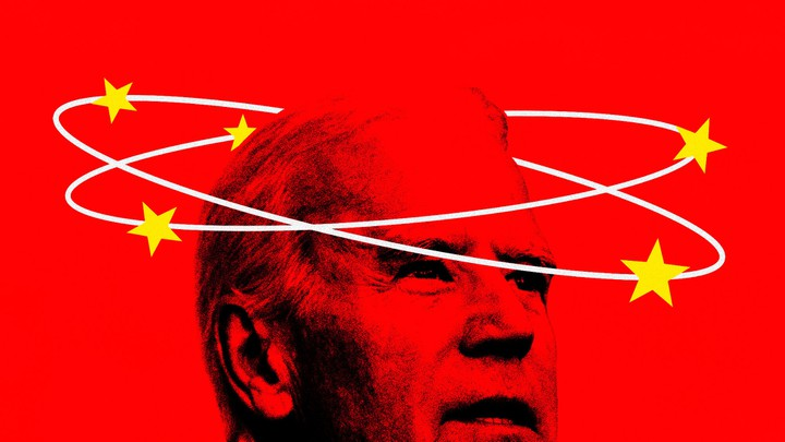 An illustration of Biden and a Chinese flag.