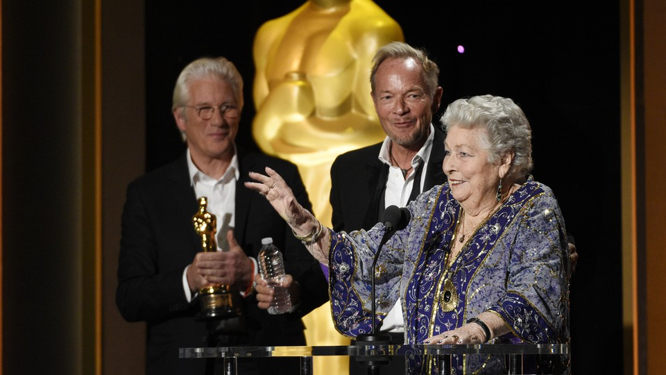 Anne V. Coates accepting her honorary Academy Award at the 2016 Governors Awards