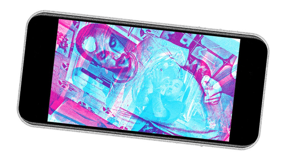 An iPhone with images of a person