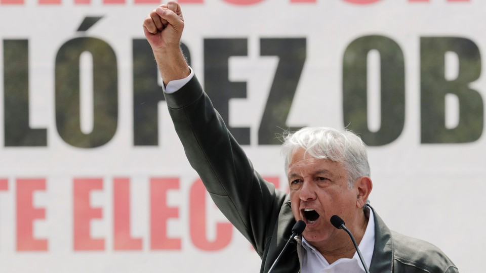 Andrés Manuel López Obrador speaks during a rally in Mexico City on September 29, 2018.