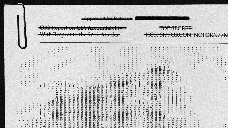 An edited image of an intelligence report in which the letters make up an image of Osama bin Laden