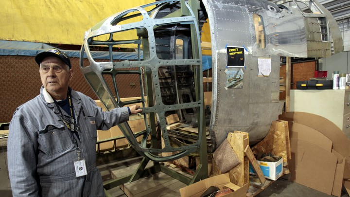 The restored nose and cockpit section of a World War II-era B-24 bomber