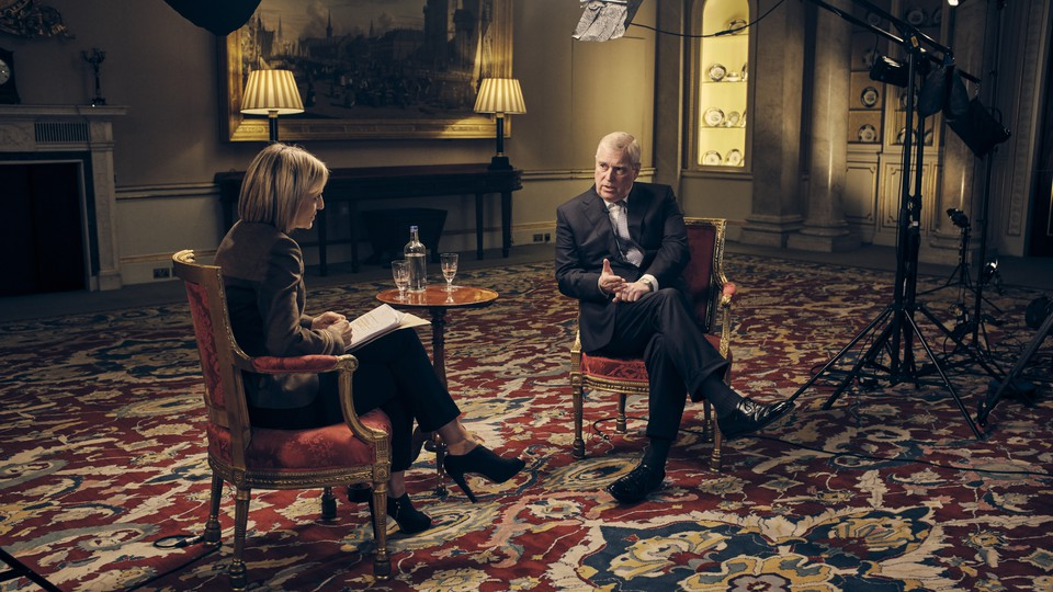 A photo of Prince Andrew during his interview with the BBC's Emily Maitlis.