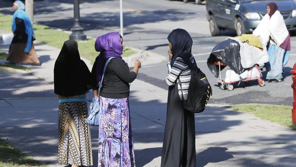 Somali women gather at a park in Minneapolis.