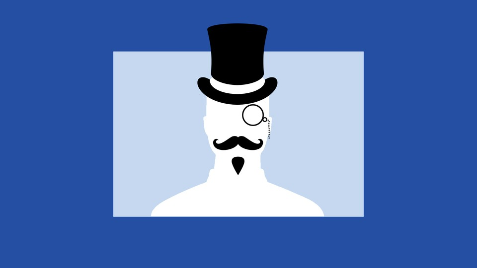 An image of a monopoly man, wearing a top hat and monocle, set against a background of blue squares that evoke Facebook's logo.