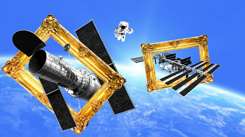 Iconic spacecraft encased in gold frames, as if in a museum