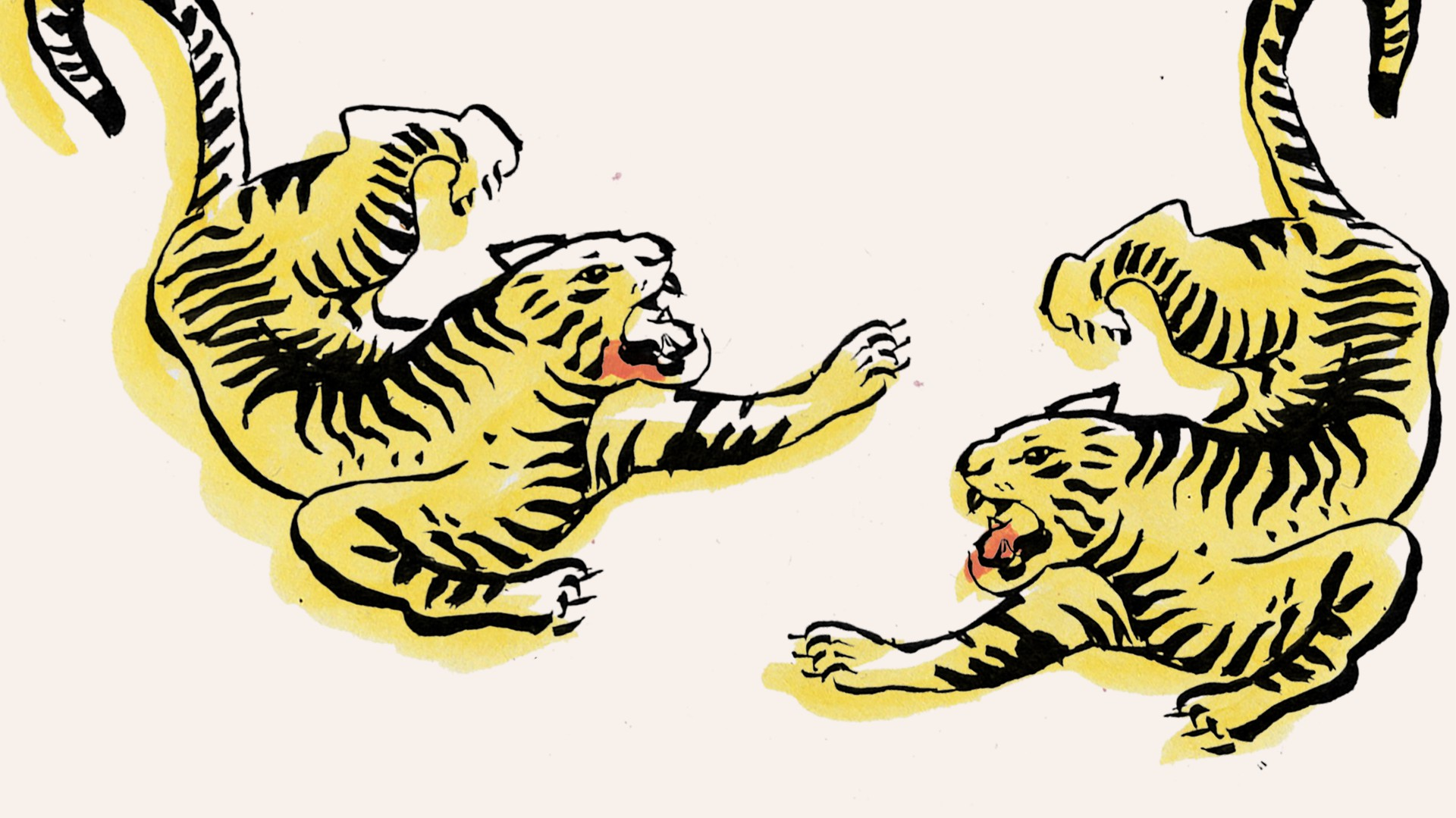 An illustration of two tigers facing each other, both roaring