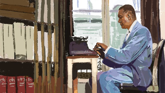 Illustration of Richard Wright sitting at a desk and writing on a typewriter