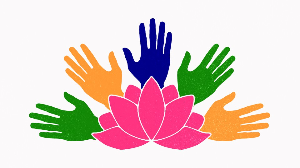 An illustration featuring a lotus flower and green, yellow, and blue hands