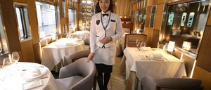 The dining car of Japan's Train Suite Shiki-Shima