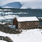 Penguins around the old British base of Port Lockroy in Antarctica