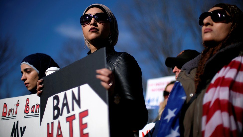Activist groups such as the Council on American-Islamic Relations, MoveOn.org, Oxfam, and the ACLU hold a rally in front of the White House on January 27, 2018.