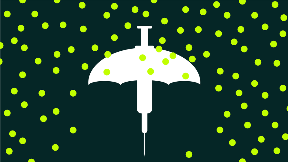 A vaccine umbrella surrounded by green dots