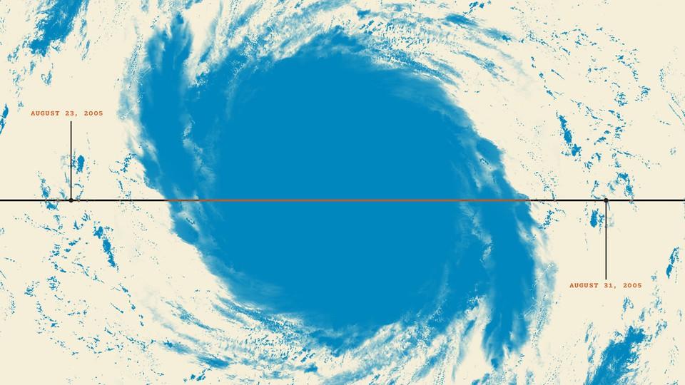 An aerial view of Hurricane Katrina