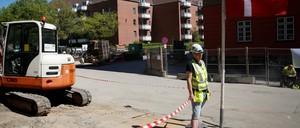 "Roadworks in Mjølnerparken, a Copenhagen housing project on the Danish government's ""ghetto list."""