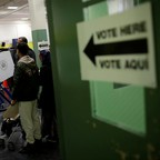 Voters in a polling place during an election