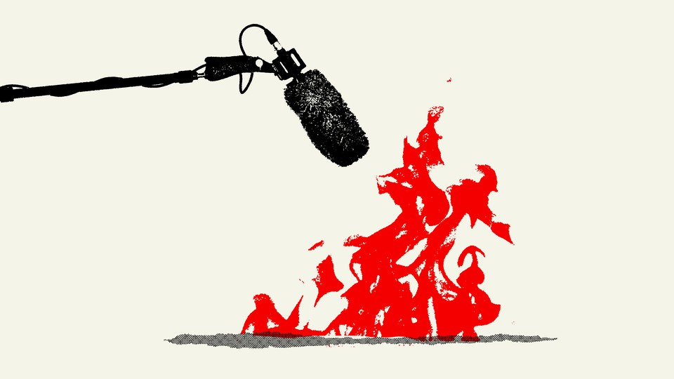 Illustration of a microphone and flames