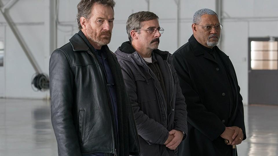 Bryan Cranston, Steve Carrell, and Laurence Fishburne in 'Last Flag Flying'