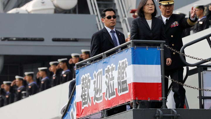 President Tsai Ing-wen visits a combat support ship during her trip at a navy base in Kaohsiung on March 21, 2017.