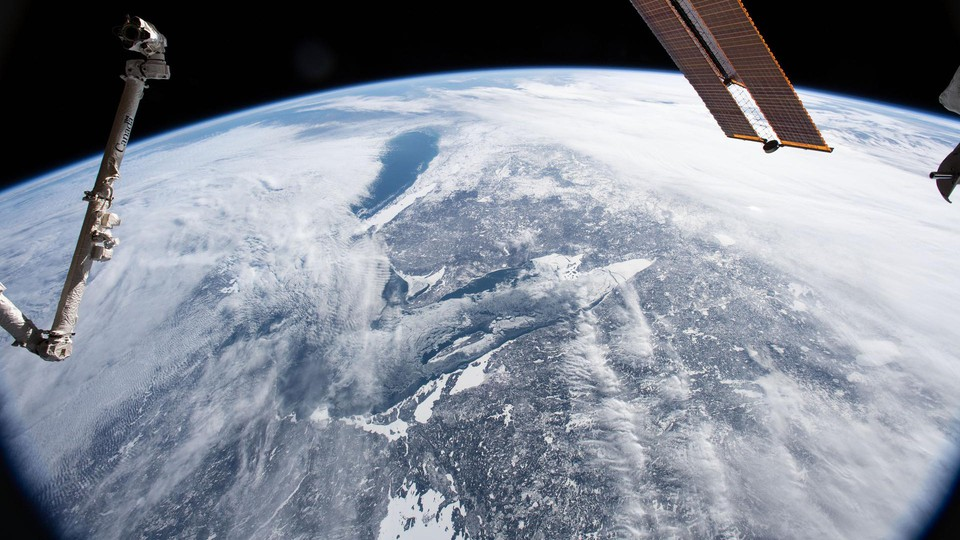 A view of a cloud-covered Earth from the International Space Station