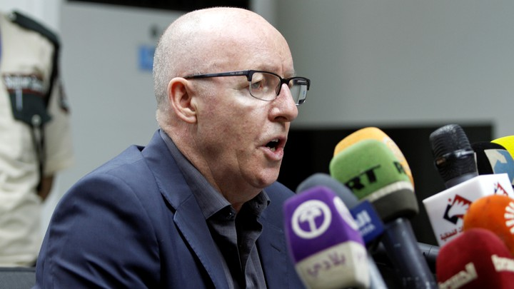 UN Humanitarian Coordinator Jamie McGoldrick speaks about the epidemic at a news conference in Sanaa on  July 6, 2017.
