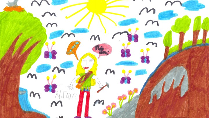 A child's drawing of a scientist, from a Draw-a-Scientist study