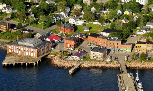 An aerial photo of downtown Eastport