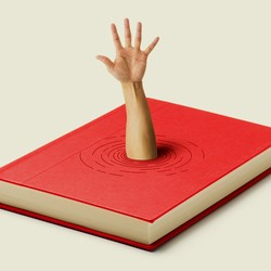 An image of a book with an arm coming out of it