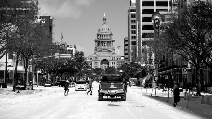 Texas state capitol and snowy streets.