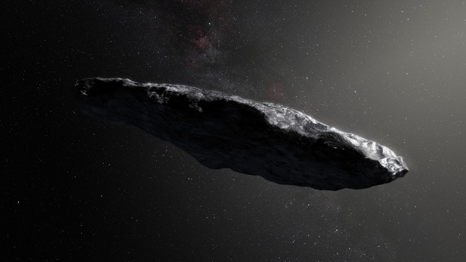 Artist's impression of 'Oumuamua, the first known interstellar asteroid