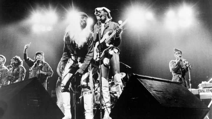 George Clinton and Garry Shider of the funk band Parliament-Funkadelic perform onstage circa 1977.