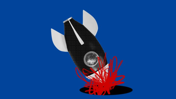 An illustration of a rocket ship crashing