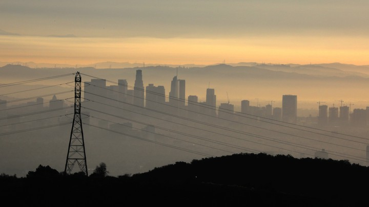 Part of the Los Angeles skyline at sunrise