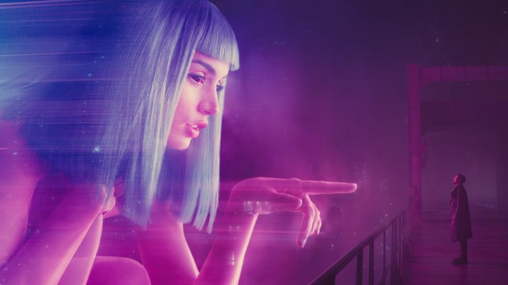 A still from 'Blade Runner 2049' featuring Joi and K