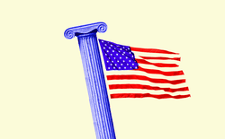 An illustration of a column and the American flag.