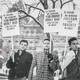 Workers picket the New York State Capitol in Albany for a raise in the minimum wage in 1963.