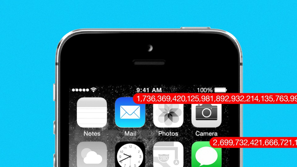 An iPhone screen with notifications of more than billions of emails and texts