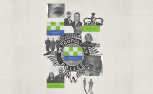 Illustration collage of images from British police shows and badge