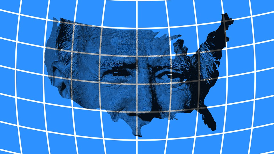 An illustration of Joe Biden and a map of the United States