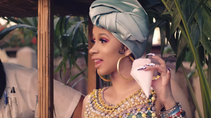 "Cardi B in the video for her single ""I Like It"""