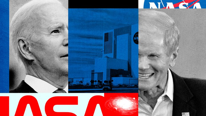 An illustration featuring President Joe Biden, former Senator Bill Nelson, and two NASA logos