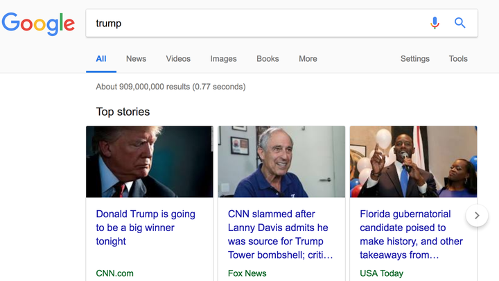 "Screenshot of a Google search for ""trump"""