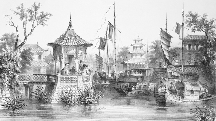 Lithograph View of Canton or Guangzhou