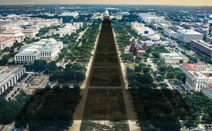 """Photo illustration: U.S. Capitol building casting a long """"T"""" shadow down the Mall"""
