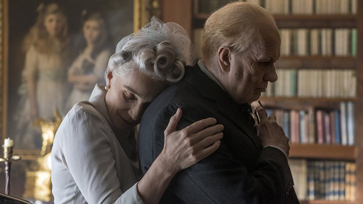 Kristin Scott Thomas and Gary Oldman in the film 'Darkest Hour'